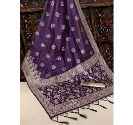 New Eye Catcher Purple Color Handloom Raw Silk Saree With  Weaves Saree