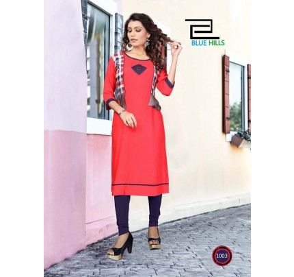 Pink color Heavy Rayon Printed Kurti With Hand Work