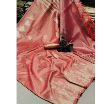 Stunning Peach  Color Ekkat Silk Rich Pallu Weaving Border  All Over Nice Designing Saree With Weaving Blouse