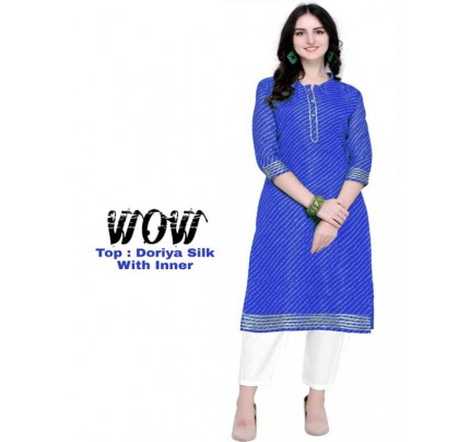 Summer Special Blue color Doriya Silk Kurti