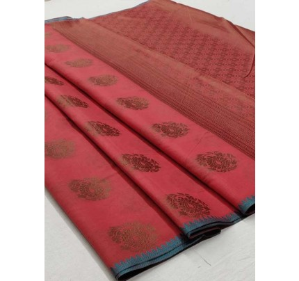 Elegance Look Pink Colour Soft Cotton Silk Saree