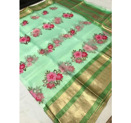 Trending Green Colored Organza Silk Saree With Kashmiri Embroidery Work With Contrast Lining Pallu
