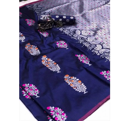 Graceful combination Blue Color Lichi Silk weaving Jacquard Saree