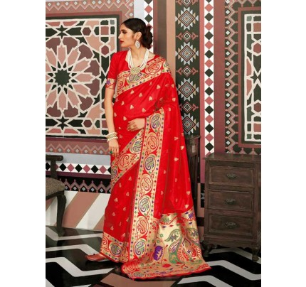 Wedding Designer Red Color pure silk weaving Saree with excellent soft texture