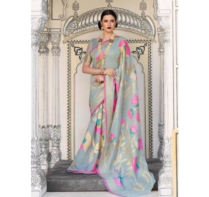 Beautiful Look Grey Color Pure Linen Saree