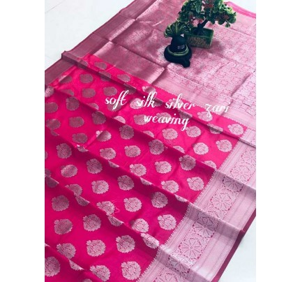Latest Wedding Look Pink Color Soft Silk Silver zari weaving Saree with Rich Pallu