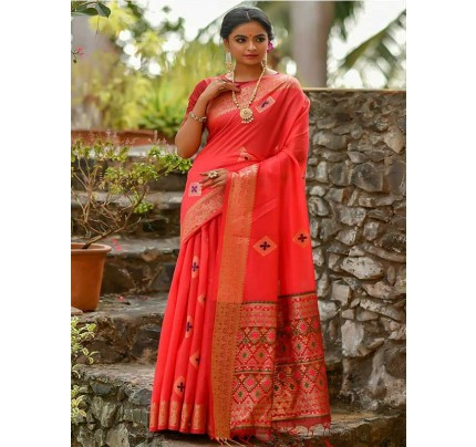 Elegance Look Red Colour Handloom Cotton Weaving Woven Patola Pallu Saree