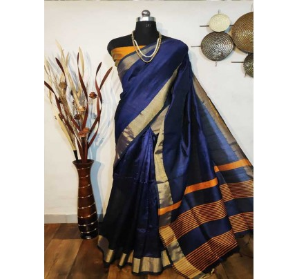 New Eye Catcher Blue Color Raw Silk Saree With mutli color border