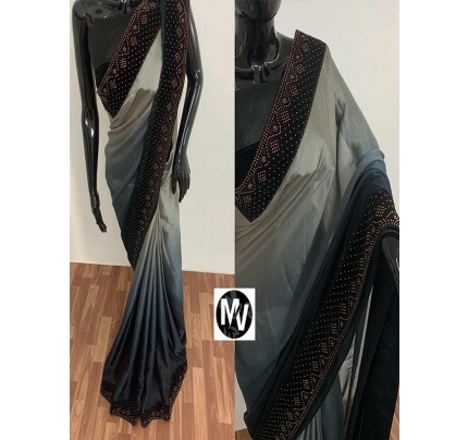Wedding Season Grey color Rangoli Silk Fabric with machine stone diamond work Saree