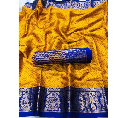 New Trending Gold Color Cotton Silk Saree