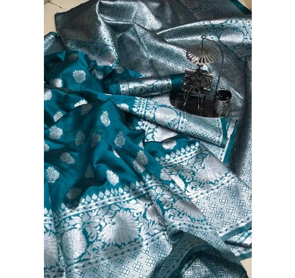 Stunning Look Cyan   Colour Soft Banarasi Silk Zari Rich Saree
