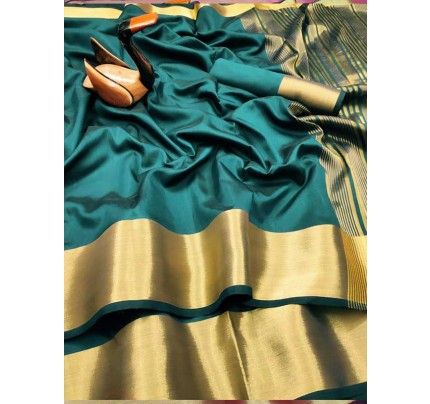 Latest Traditional Look Cyan Color Dola Silk Saree With Golden Weaving Border And Weaving Pallu