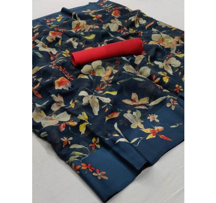 Stunning Blue Color Soft Linen Silk Fabric Printed Saree