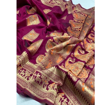 Stunning Look Purple Colour Soft Banarasi Silk Zari Rich Saree