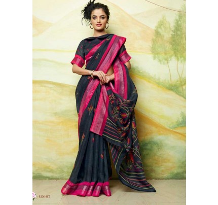 Wedding Look Multi Color Linen Weaving Silver Border Saree