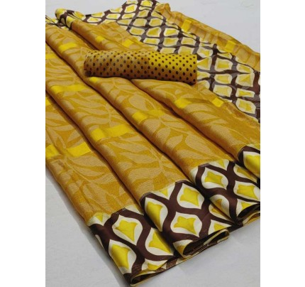 Latest Modern Look Yellow Color  Soft Braso Silk Saree