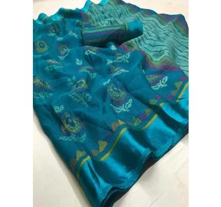 Latest Modern Look Cyan Color  Soft Braso Silk Saree