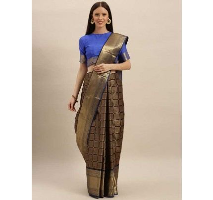 New  Brown Colour Gold-Toned Silk Blend Solid Kanjeevaram Saree
