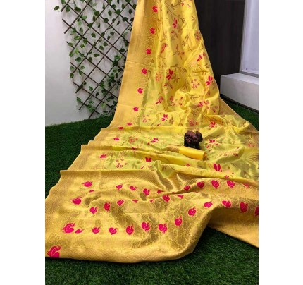 Stunning Look Golden Colour Pure Banarasi Soft Silk Saree With RICH Zari Pallu