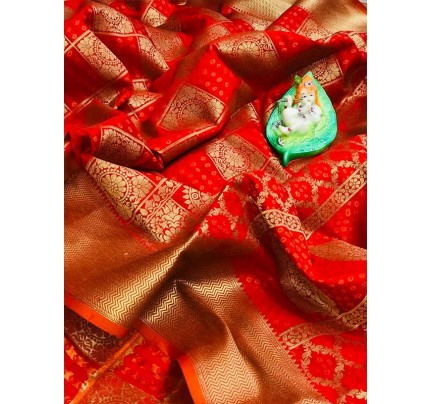 Attractive Look Red  Colour  Banarasi Patola Silk Saree With  Meenakari Border And Pallu