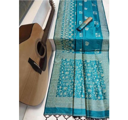 Beautiful Cyan Handloom raw Silk Weaving Saree with kalamkari  woven pallu