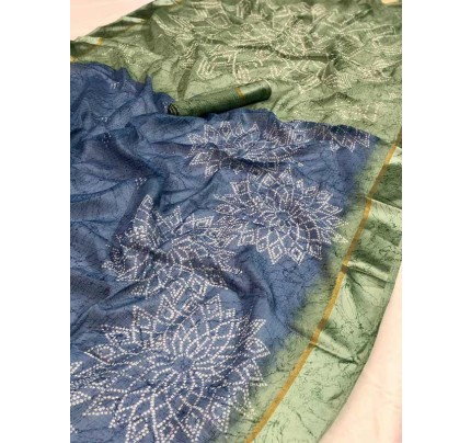 Traditional Look Blue Kota Ikkat Bandhej Print Saree