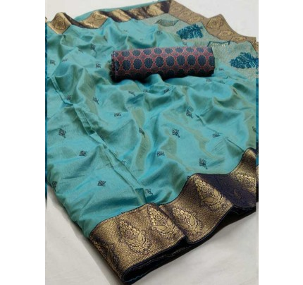 Beautiful Look SkyBlue Color Pure Linen Saree
