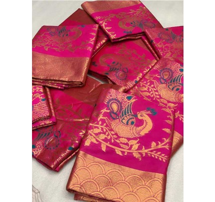 Latest Traditional Look Pink Color Pure  Silk Mina Work  Saree