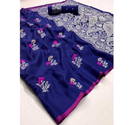 Navratri Speacial Blue Colour Soft Silk weaving Saree