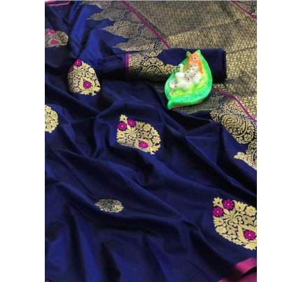 Stunning Look Blue Colour Soft Banarasi silk weaving saree with pure zari woven pallu
