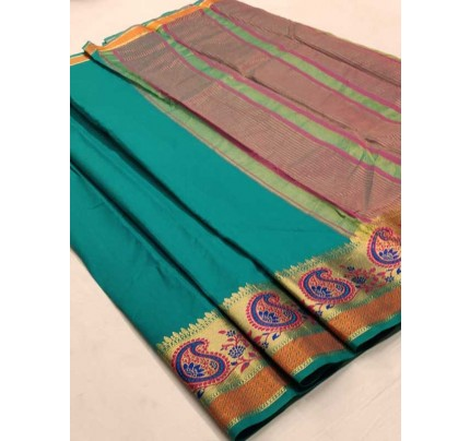 Bollywood Look Cyan Color Silk weaving Saree