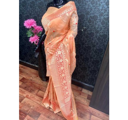 Beautiful Orange Soft Handloom Cotton silverzari weaving Saree