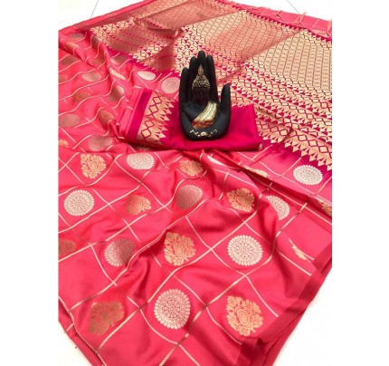 Stylish Look Peach Colour Soft Silk with silver & gold zari weaving work saree