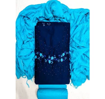 Blue Color Silk South Silk Top Fabric with Cotton Bottom Suit