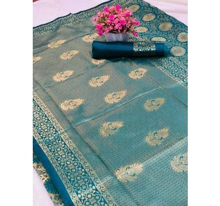 Special Edition Cyan Color Banarasi Silk minakari weaving work Saree