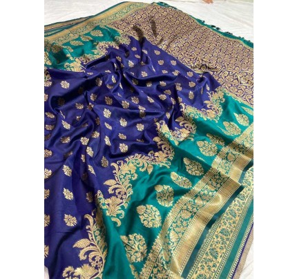 Wedding Look Blue color Pure Jacquard Fabrics With Resham Zari Work Saree
