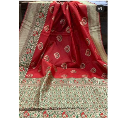 Special Edition Peach Color Banarasi Silk Minakari Weaving Work Saree
