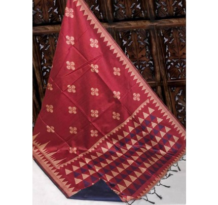Beautiful Red Handloom Raw Silk Weaving Saree With All Over Resham Weaving