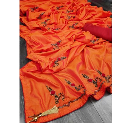 Graceful combination for Wedding Look Orange Sana Silk Saree hand work with piping