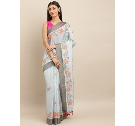 Traditional Look SkyBlue Colour Jute Silk Printed Ikat Saree