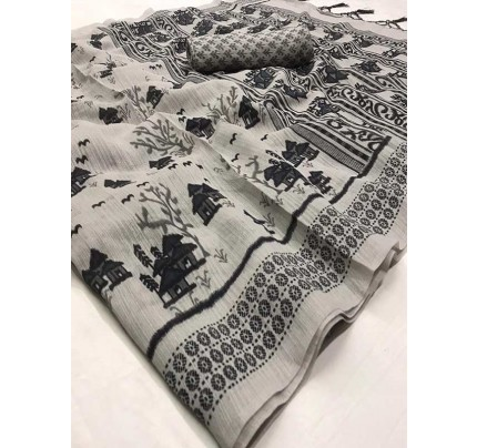Stunning Grey Color Soft Cotton Fabric Printed Saree