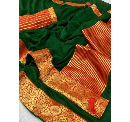 Stylish Look Green Colour Mogha Silk Saree With a Weaving Border Concept Saree