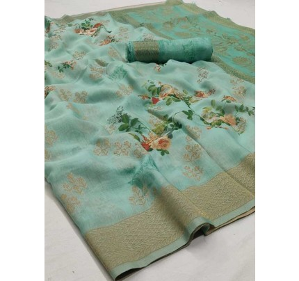 New Eye Catcher Cyan Color Soft Silk Digital Printed Saree