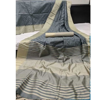 Beautiful Grey  Handloom Raw Silk Saree With Embroidered Cut Work All Over