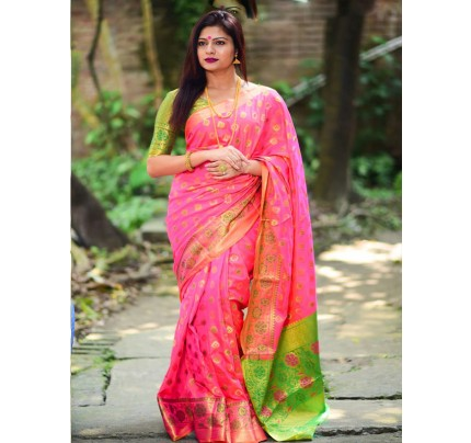 Rich Look Pink Colour Soft Banarasi Silk Weaving Work Saree with zari woven pallu