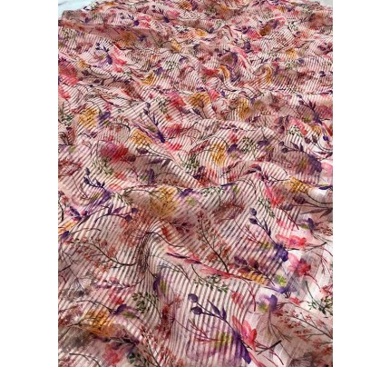 New Trending Multi Colour Lenin And Chiffon Saree With Printed In Floral Designs
