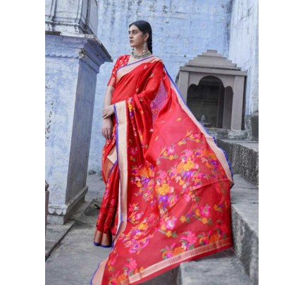 New Trending Red  Colour Soft Cotton With Mina Weaving Saree