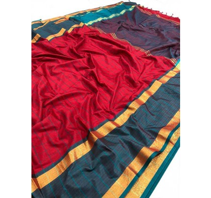 Wedding Designer Red   Color Pure Soft Silk Upada Saree