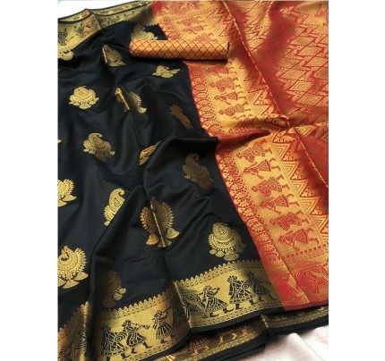 Pretty Look Black Color Banarasi Silk Saree with Zari work