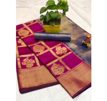 Pretty Look Pink Color Banarasi Silk Fabric with Zari work Kanchipuram Saree